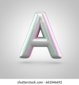 Glossy perl letter A uppercase. 3D render of bubble font with green with pink light reflections isolated on white background.