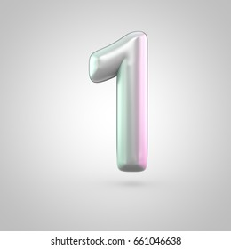 Glossy perl number 1. 3D render of bubble font with green with pink light reflections isolated on white background.