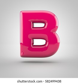 Glossy pink paint letter B uppercase. 3D render of bubble font with glint isolated on white background.