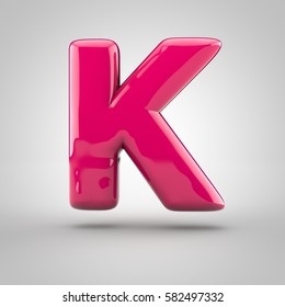 Glossy pink paint letter K uppercase. 3D render of bubble font with glint isolated on white background.