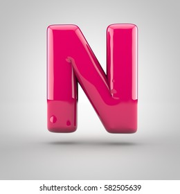 Glossy pink paint letter N uppercase. 3D render of bubble font with glint isolated on white background.