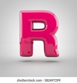 Glossy pink paint letter R uppercase. 3D render of bubble font with glint isolated on white background.