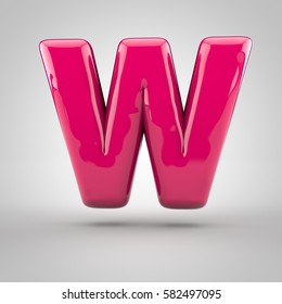 Glossy pink paint letter W uppercase. 3D render of bubble font with glint isolated on white background.