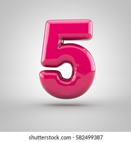 Glossy pink paint number 5. 3D render of bubble font with glint isolated on white background.