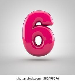 Glossy pink paint number 6. 3D render of bubble font with glint isolated on white background.