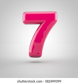 Glossy pink paint number 7. 3D render of bubble font with glint isolated on white background.