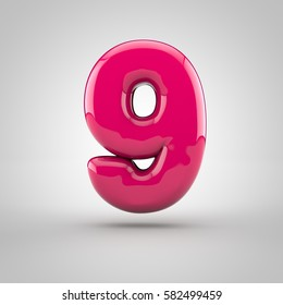 Glossy pink paint number 9. 3D render of bubble font with glint isolated on white background.