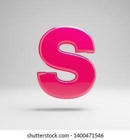Glossy pink uppercase letter S isolated on white background. 3D rendered alphabet. Modern font for banner, poster, cover, logo design template element.