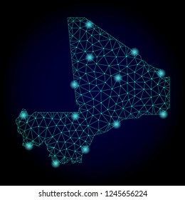 Glossy polygonal mesh map of Mali. Abstract mesh lines, triangles, light spots and points on dark background with map of Mali.