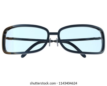 Glossy Reading Glasses, Modern Spectacles, Front View, 3D Rendering