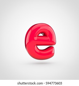 Glossy red paint letter E lowercase. 3D render of bubble twisted font with glint isolated on white background.