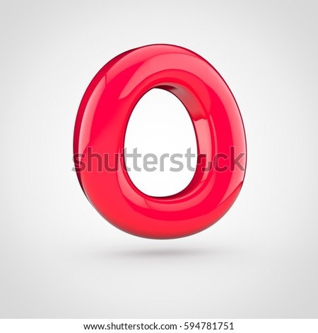 glossy red paint letter o uppercase 3d render of bubble twisted font with glint isolated