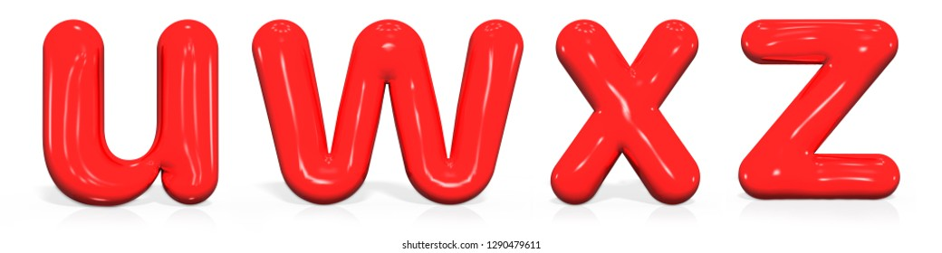 Glossy red paint  letter U, W, X, Z lowercase of bubble isolated on white background, 3d rendering illustration