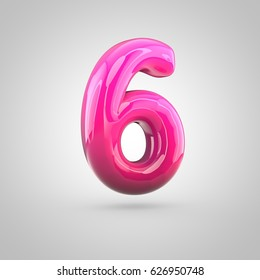 Glossy red and pink gradient paint alphabet number 6. 3D render of bubble twisted font with glint isolated on white background.