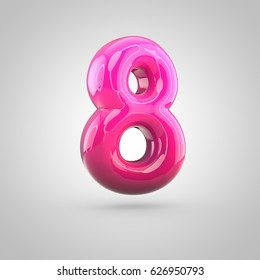 Glossy red and pink gradient paint alphabet number 8. 3D render of bubble twisted font with glint isolated on white background.