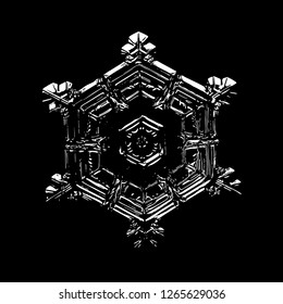 Glossy snowflake on black background. This illustration based on macro photo of real snow crystal: beautiful star plate with hexagonal symmetry, six short broad arms and beautiful inner pattern.