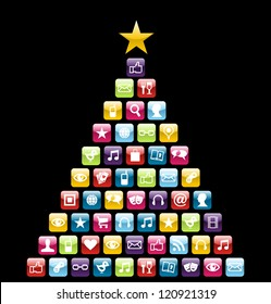 Glossy Social and multimedia icons in Christmas pine tree greeting card.