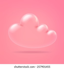 Glossy transparent white 3D Inflate Balloon Cloud. Isolated on pink background.