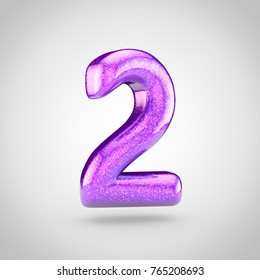 Glossy violet glitering number 2. 3D render of holographic glitter font isolated on white background.