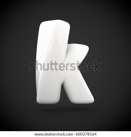Glossy White Paint Letter K Lowercase Stock Illustration 600378164