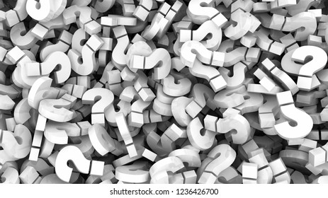 Glossy white question marks background. 3D illustration
