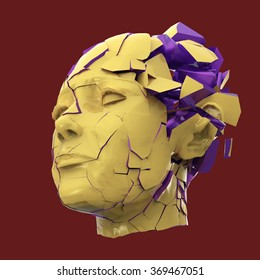 Glossy woman head exploding shuttered  - Headache, mental problems, stress, disaster  concept illustration. High quality 3d render, isolated.