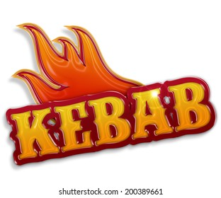 """glossy word """"kebab"""" isolated on white background"""