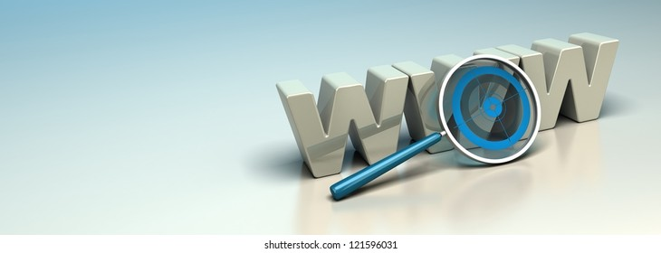Glossy WWW 3D letters written onto a blue and beige background with a magnifier including a blue target. Symbol of search engine optimization or web analysis. Horizontal banner.