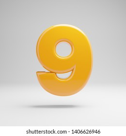 Glossy yellow number 9 isolated on white background. 3D rendered alphabet. Modern font for banner, poster, cover, logo design template element.