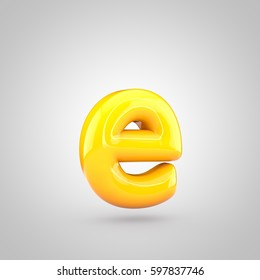 Glossy yellow paint letter E lowercase. 3D render of bubble twisted font with glint and ring light reflection isolated on white background.