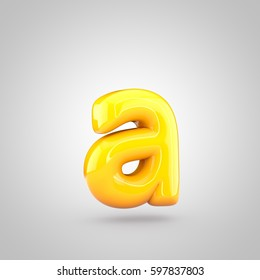 Glossy yellow paint letter A lowercase. 3D render of bubble twisted font with glint and ring light reflection isolated on white background.