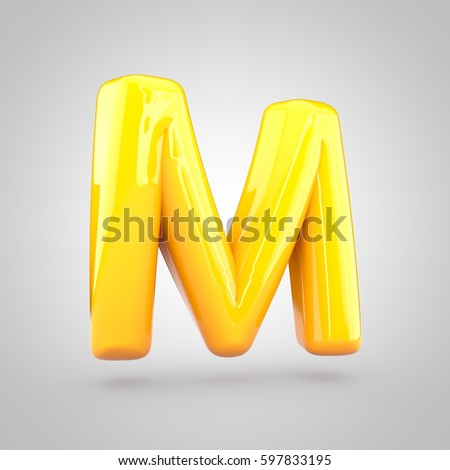 glossy yellow paint letter m uppercase 3d render of bubble twisted font with glint and