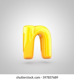 Glossy yellow paint letter N lowercase. 3D render of bubble twisted font with glint and ring light reflection isolated on white background.