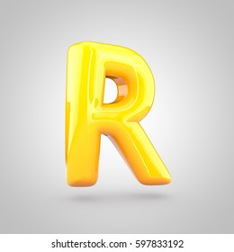 Glossy yellow paint letter R uppercase. 3D render of bubble twisted font with glint and ring light reflection isolated on white background.