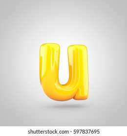 Glossy yellow paint letter U lowercase. 3D render of bubble twisted font with glint and ring light reflection isolated on white background.