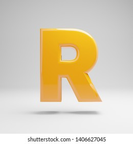 Glossy yellow uppercase letter R isolated on white background. 3D rendered alphabet. Modern font for banner, poster, cover, logo design template element.