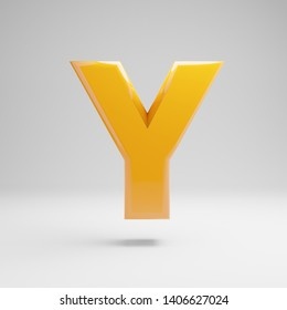 Glossy yellow uppercase letter Y isolated on white background. 3D rendered alphabet. Modern font for banner, poster, cover, logo design template element.