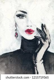 Handschuh.schöne Frau. Modegrafik. Acrylmalerei