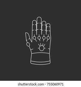 Glove with gems. Line style icon
