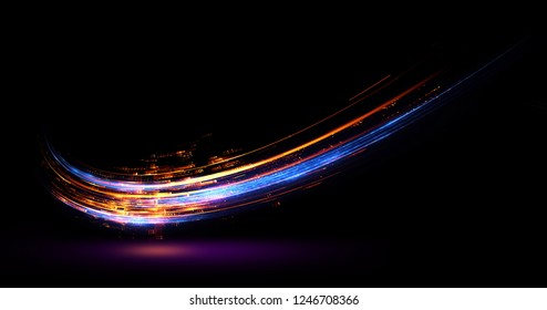 Glow effect. Ribbon glint. Curved lines. Power energy. LED glare tape. Shining neon cosmic streaks. Magic design round whirl. Swirl trail effect. Smooth wave.  Gentle arc. Light flow.  Sci fi tech