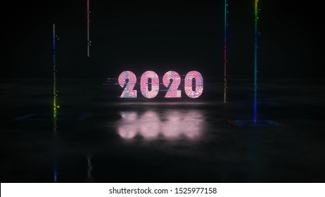 Glow glitch text 2020 with reflection. Christmas or New Year Celebration. 3D render illustration