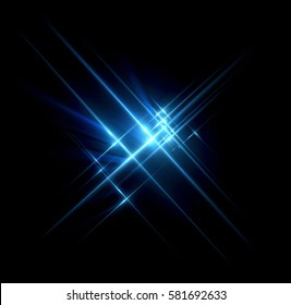 Glow light effect stars bursts with sparkles. Light cosmic crossing substance. Array of stars. Glow cross symbol. Optical flares background. Art design banner. Christmas celebrate magic flash ray.