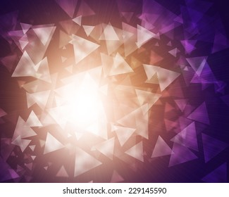 Glow multicolor triangles on dark background. Abstract texture