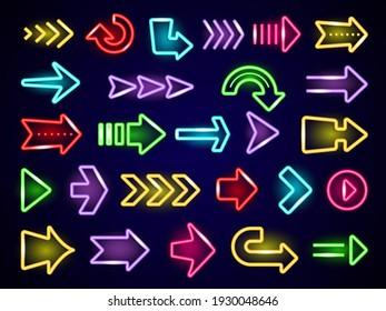 Glow neon arrows. Light direction arrows retro outside street advertizing elements neon realistic