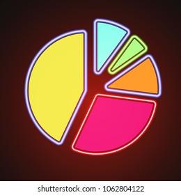 Glowin neon pie chart graph illustration icon