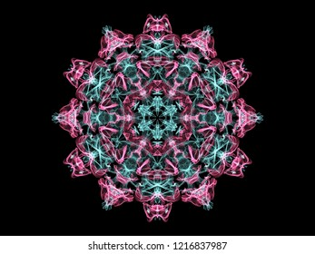 Glowing abstarct flame mandala flower in pink and turquoise colors, ornamental round pattern on black background.