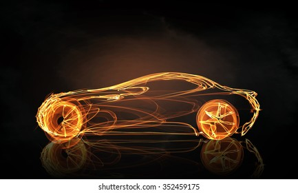 Glowing abstract car outline silhouette on dark background