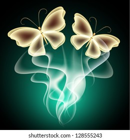Glowing background with smoke and  butterflies. Raster version of vector.