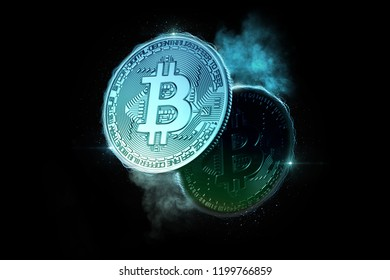 Glowing Bitcoin coins. 3D illustration.