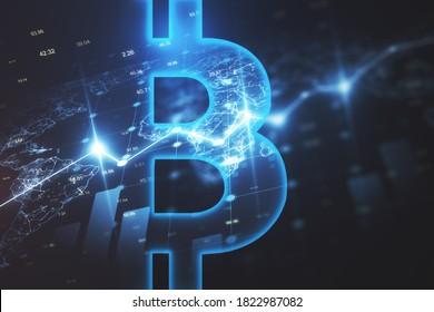 Glowing bitcoin icon and stock interface on dark blue wallpaper. Cryptocurrency and money concept. 3D Rendering